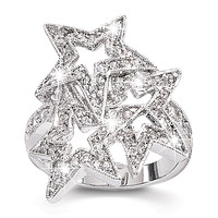 Wonder Woman CZ Star Ring Sterling Silver