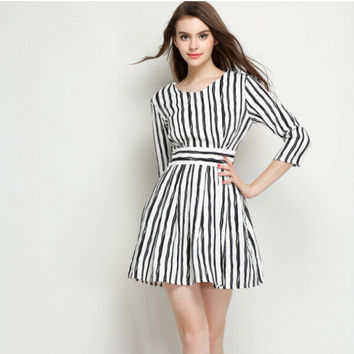 Black and White V-Neck Vertical Stripes Long-Sleeve A-Line Dress