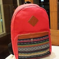 Fashion Red Strip Print Canvas Backpack