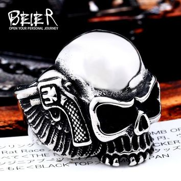 Beier new store 316L Stainless Steel ring high quality biker men Pistol skull on both sides fashion jewelry LLBR8-474R US size
