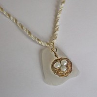 Bird's nest and sea glass necklace