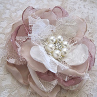 Champagne Ivory Dusty Rose and Lace Wedding Flower Hair Clip Bride, Mother of the Bride Bridesmaids with Pearl and Rhinestone Accent
