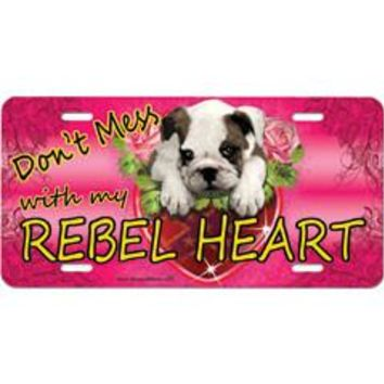 Don't Mess With My Rebel Heart Embossed Aluminum Car Tag By Dixie Outfitters®