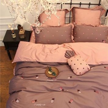 886466788942 4 7Pcs Cute pineapple Luxury Egyptian Cotton Modern Bedding Set