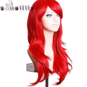 "S-noilite 24"" 60cm Long Layer Women Hair Wig Cosplay Costume Party Full Wigs Pink Red Orange Synthetic Hairpiece"