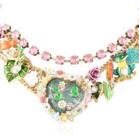 "Betsey Johnson ""Walk in the Park"" Fish Pond Heart Multi-Charm Necklace, 19"""