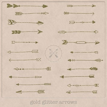 Hand Drawn Gold Glitter Arrows Clipart (A set of 22).Use them for scrapbooking, graphic design or make logos from this tribal arrow clipart.