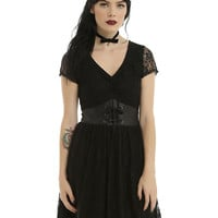 Black Short Sleeve Faux Leather & Lace Dress