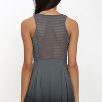 Others Follow Fragile Floral Grey Dip-Dye Dress