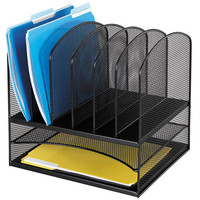 Safco Onyx Desk Organizer with Letter Size Trays