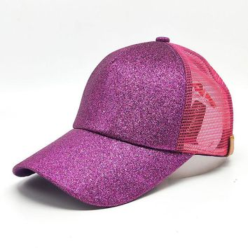 Trendy Winter Jacket 2018 CC Glitter Ponytail Baseball Cap Messy Bun Dad Hats For Women Sequins Shine Summer Mesh Trucker Hat Snapback Hip Hop Caps AT_92_12