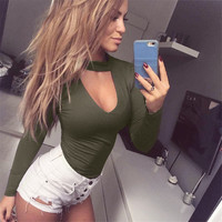 Black Red Green Rompers Womens Jumpsuits Halterneck Bodycon Clubwear Long Sleeve Body Sexy Bodysuits Combinaison Femme Playsuits