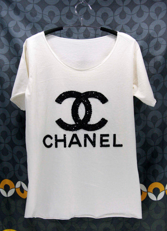 Chanel T Shirts Handmade Crystal Seed From Orinocoshop On Etsy
