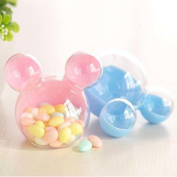 20pcs Mickey Mouse Plastic Candy Box Wedding Gifts Box Candy Package Box Baby Shower Kids Birthday Christmas Party Supplies