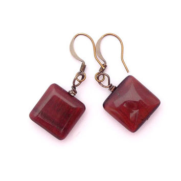 Red Tiger's Eye Antiqued Gold Plated Brass Square Geometric Beaded Gemstone Earrings Fall Fashion Jewelry