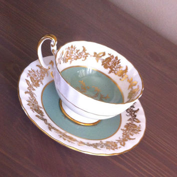 Antique Aynsley teal and gold ribbed tea cup and saucer, English bone china tea set, blue and white wedding gift
