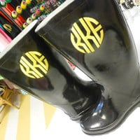 Monogrammed Rain Boots Black  Font Shown CIRCLE