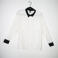 sheer white button up blouse, black collar, 90s 1990s top shirt lightweight outerwear hipster vintage retro spring 2014 fashion