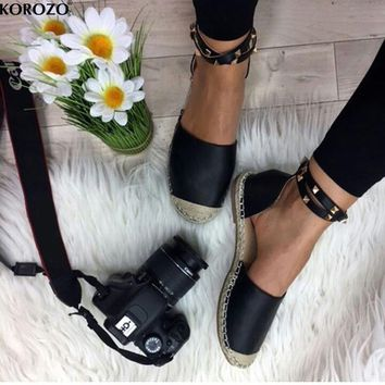 2017 Women Studded Loafers Espadrilles Slip On Slipony Gladiator Flats Platform Shoes Ladies Brand Designer Canvas Espadrilles