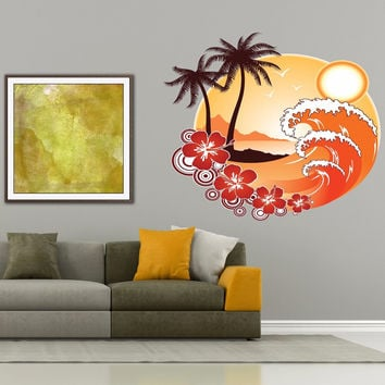 Full color decal  Beach Sun Ocean sticker, Beach Sun Decal, wall art decal gc352