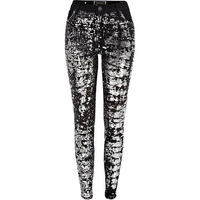 River Island Womens Black sequin front Amelie superskinny jeans
