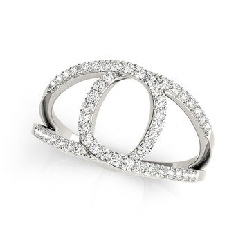 14K White Gold Diamond Loop Style Dual Band Ring (1/2 ct. tw.)
