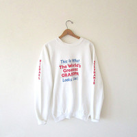 Vintage BUCKO World's Greatest GRANDPA Flocked Stephanie Michael Fruit of the Loom 50/50 Blend Sweatshirt Sz XL