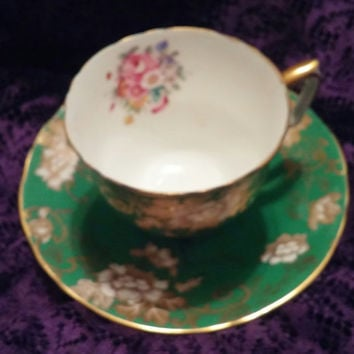 Crown Staffordshire English Teacup and Saucer Bone China Emerald Green With Gold Gilt Pattern A14772