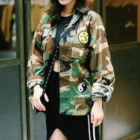 Flat Pointed Collar Patchwork Camouflage Print   Long Sleeves Coat Pocket Top