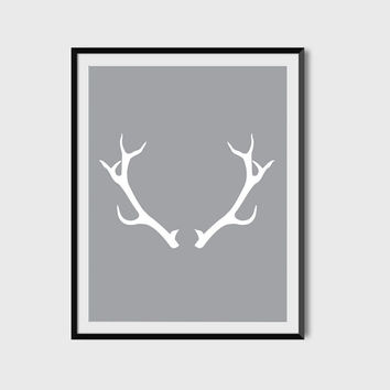 Antlers Wall Art, Print, Poster, Grey, Deer Antlers, Digital Printable File, Instant Download