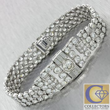 1920 Antique Art Deco Platinum 20.00ct Diamond 3 Row Wide Bezel Link Bracelet J8