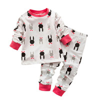 Baby Kids Girl Boy Tracksuit Bunny Rabbit Cotton Pajamas Underwear Suit 0-7 Y