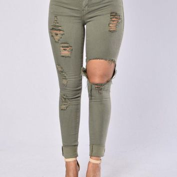 Glistening Jeans - Olive
