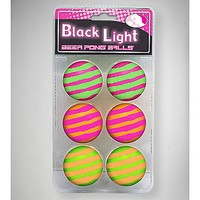 Black Light Striped Beer Pong Balls 6 Pk - Spencer's