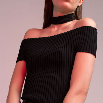 Off Shoulder Crop Knit Top