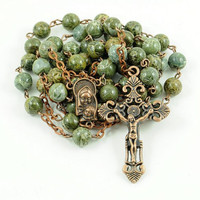 Catholic Rosary Green Brecciated Jasper Antique Copper Traditional Rustic Natural Stone Rosary