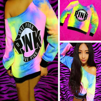 """Pink"" Victoria's Secret Pattern Print Off Shoulder Multicolor  Top Blouse Pullover Sweater"