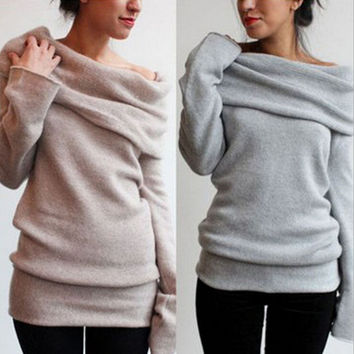 Pure color long-sleeved sweater