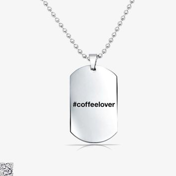 Hashtag Coffeelover, Coffee Lover's Tag Necklace
