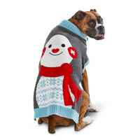 Petco Holiday Gray & Blue Snowman Dog Sweater