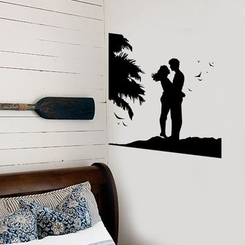 Wall Stickers Vinyl Decal Couple in Love Romantic Sunset Beach Bedroom Unique Gift (ig1887)