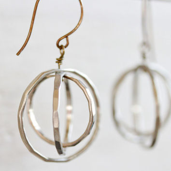 Free Spinning Circle Earrings / Orbital Earrings / Simple Earrings / Silver Earrings / Gift for Her / Unique Earrings / Birthday for Her