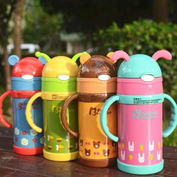 High quality Kids Water Bottle Thermos Mug Lovely Stainless Steel Vacuum Cup Tumbler For Kids With Straw 260ML Free Shipping