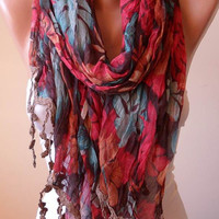 New Scarf - Colorful Linen Scarf  with Trim Edge