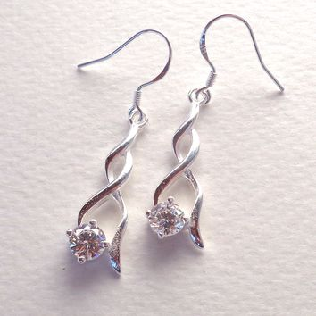 Amazon.com : CZ Dangle Earrings 925 Silver Plated 30mm long : Everything Else