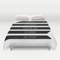 Book Lovers never go to bed alone Duvet Cover by Xiari
