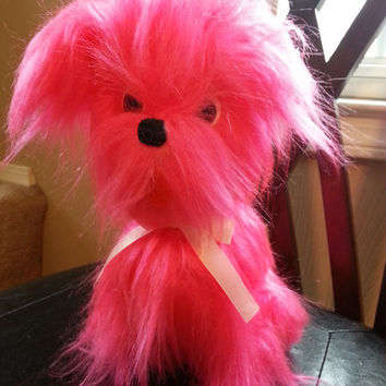 Vintage Hot Pink Plush Dog