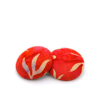 Coral Red // Comfortable Earrings // Fabric Earrings // Batik Fabric // Gifts under 25