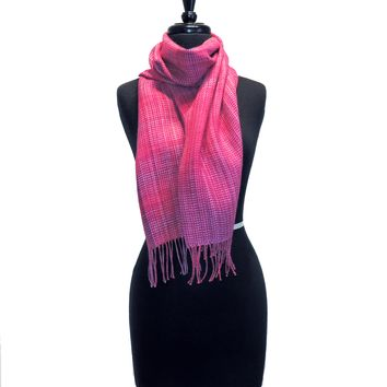 100% Baby Alpaca Woven Scarf - Hand-dyed Pink