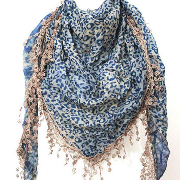 blue leopard scar,lace scarf,scarf,gift